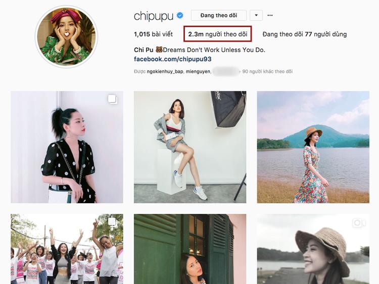 """Và trên Instagram, cô """"thống trị"""" mạng xã hội này với 2,3 triệu fan."""