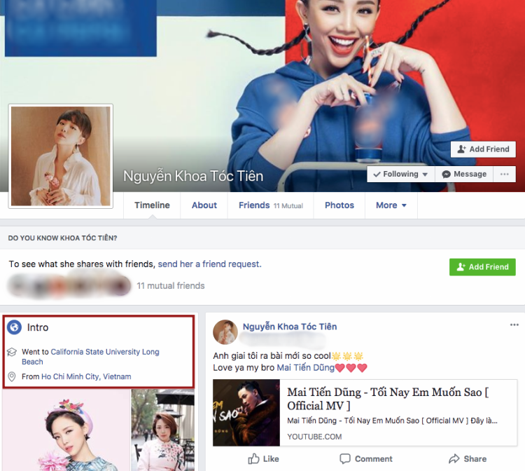 Tóc Tiên tắt chế độ hiển thị người theo dõi trên Facebook.