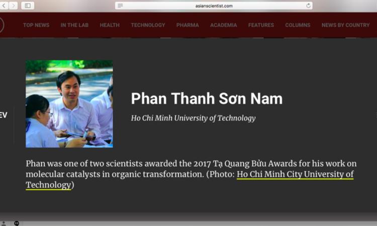 Thông tin về GS.TS Phan Thanh Sơn Nam trên tạp chí Asian Scientist