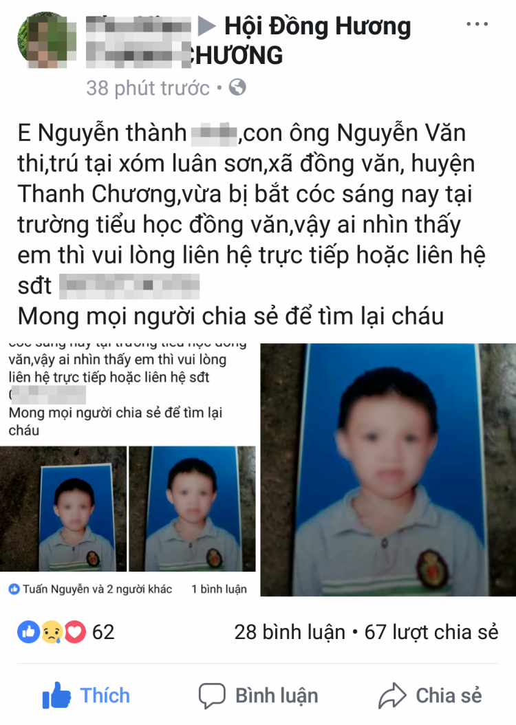 Thông tin một học sinh tiểu học ở Nghệ An bị bắt cóc chỉ là hiểu nhầm