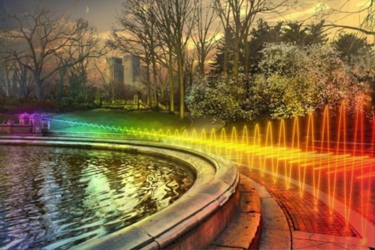 Sóng Wi-Fi có nhiều màu sắc và được thể hiện dưới dạng đường lượn sóng.