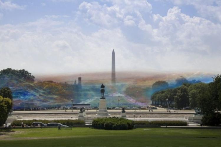 Sóng Wi-Fi như một màn sương nhiều màu sắc.