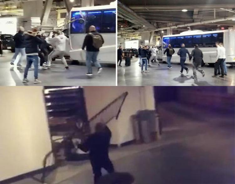 Conor McGregor dùng vật dụng bằng kim loại tấn công xe buýt.