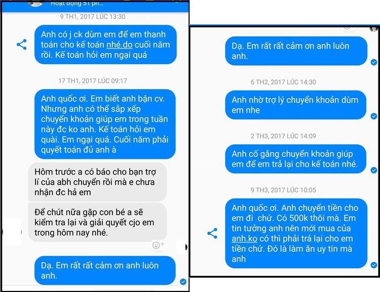 Một bạn khác cũng đăng lên hình ảnh tin nhắn hứa trả tiền của nhiếp ảnh gia này trong một vụ khác.