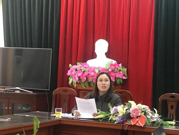 Bà Trần Thị Mỹ Lâm, Hiệu trưởng trường THCS Xuân La thông tin về trường hợp nam sinh lớp 6 tử vong khi đi dã ngoại.