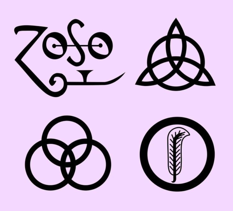 Từ trái sang phải, từ trên xuống dưới: Biểu tượng củaJimmy Page,John Paul Jones,John Bonham ,Robert Plant. Ảnh:Wikimedia