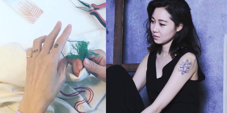 """""""Chị đại"""" Gong Hyo Jin thường xuyên khoe hình xăm """"cực"""" chất ở bắp tay, ở trên ngón trỏ và ngón áp út."""