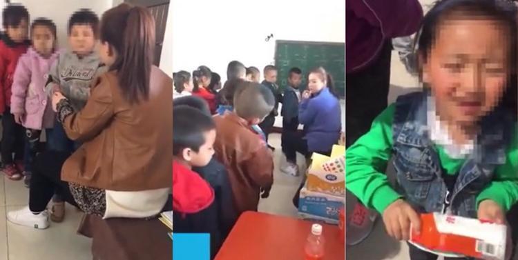 Các em học sinh đưng xếp hàng chờ bị đánh.