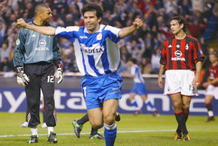 """Deportivo vs AC Milan (Tứ kết Champions League 2003/04). Trong trận lượt đi, AC Milan đã đánh bại Deportivo với tỷ số 4-1. Thế nhưng, tại trận lượt về, đội bóng Italia đã thể hiện một bộ mặt khá bạc nhược khi để đối thủ """"vùi dập"""" với tỷ số 4-0. Walter Pandiani (5'), Juan Valeron (34'), Albert Luque (44') và Fran (76') là những người đã ghi bàn giúp Deportivo vào bán kết với tổng tỷ số sau 2 lượt trận là 5-4."""
