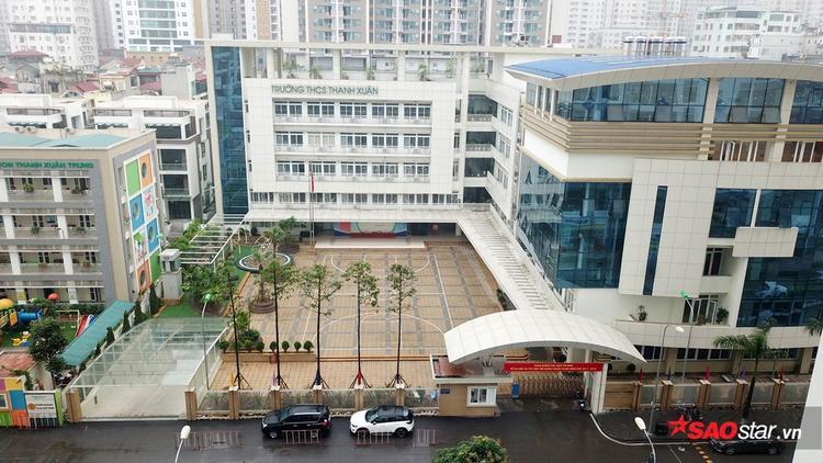 Toàn cảnh trường THCS Thanh Xuân nhìn từ trên cao.
