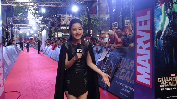 Chi Pu tại họp báo phim Guardians of the Galaxy ở Singapore năm 2014.