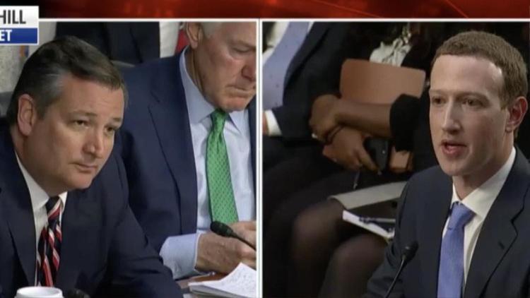 Thượng nghị sĩ Ted Cruz trong phiên điều trần với Mark.