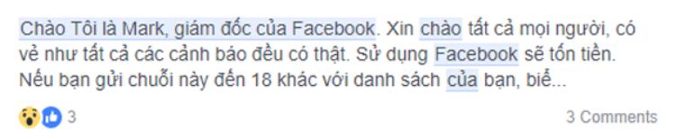 Một tin nhắn khác nhắc đến việc người dùng phải chuyển tiếp tin nhắn hoặc sẽ phải trả phí để dùng Facebook.