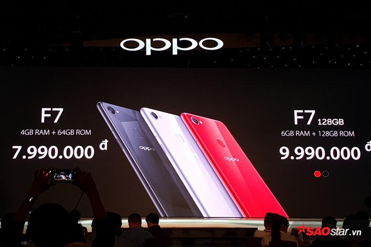 Giá bán lẻ đề xuất của hai phiên bản OPPO F7 tại Việt Nam.