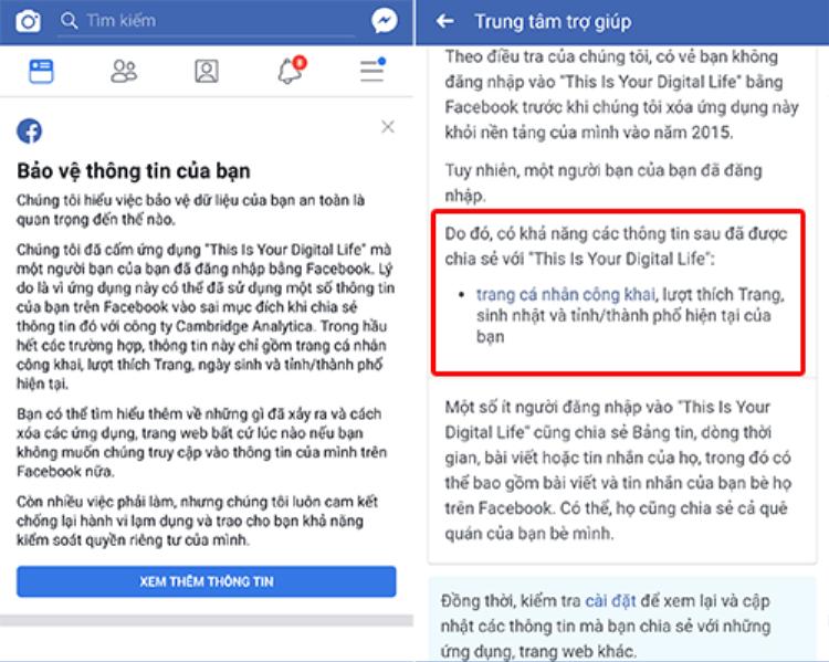 Facebook thông báo những dữ liệu đã bị rò rỉ theo cách trực tiếp hoặc gián tiếp.