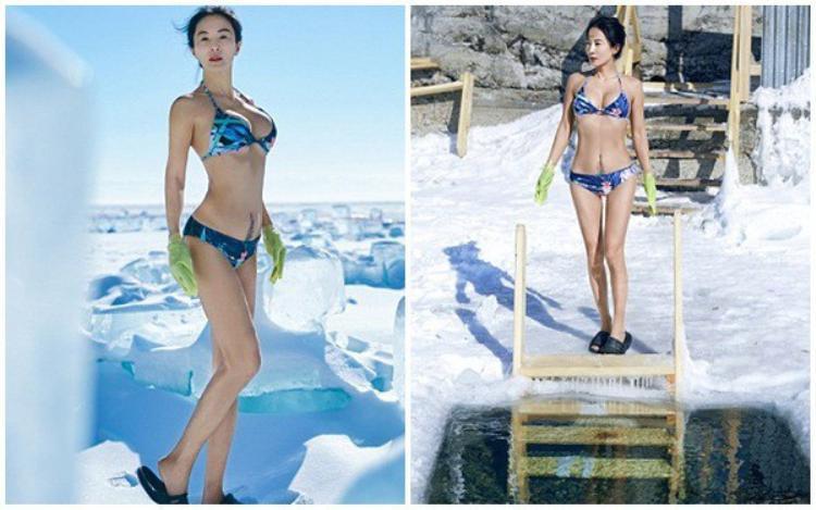 Vào đầu tháng 3/2018, cô Liu cũng gây sốc khi khoe thân hình hoàn hảo tại một trong những nơi lạnh nhất hành tinh. Bộ ảnh được thực hiện ở mặt hồ Baikal, hồ nước ngọt lớn nhất thế giới ở Nga, trong tiết trời -40 độ C.