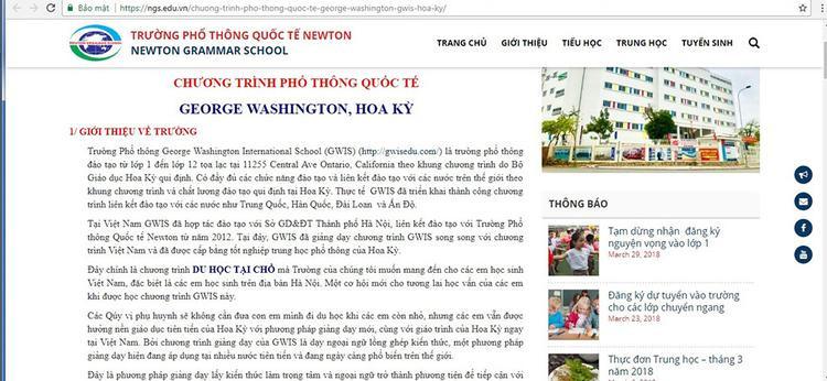 Chương trình học liên kết trên website trường Quốc tế Newton - (ảnh: Thanh niên).