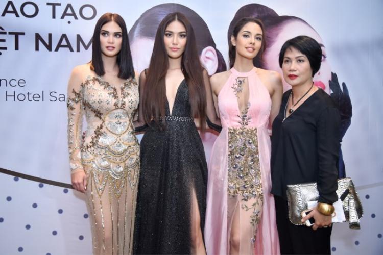 Hoa hậu Thế giới Megan Young, Hoa hậu Hoàn vũ Pia Wurtzbach và Hoa khôi Lan Khuê là tâm điểm tại sự kiện ra mắt Trung tâm đào tạo Hoa hậu Việt Nam tại TP.HCM chiều 14/4.