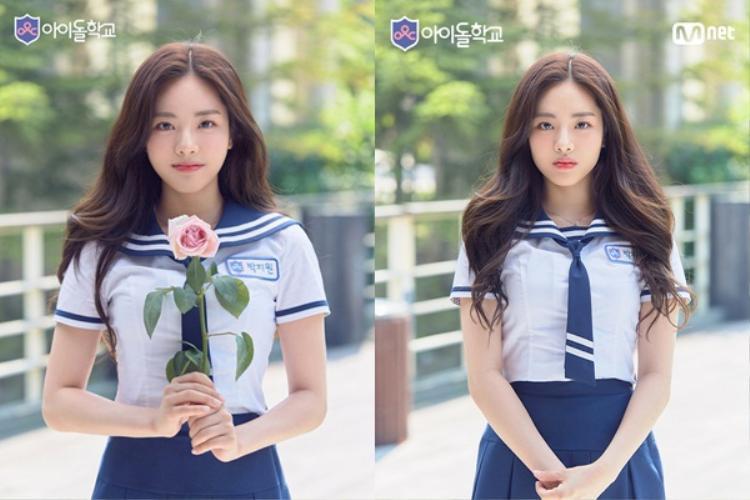 Và đây là Jiwon xinh lên bất ngờ trong Idol School.