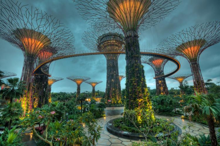 Gardens By The Bay là một khu vườn khổng lồ với diện tích 101 ha được xây dựng từ một khu đất hoang ở trung tâm Singapore tiếp giáp với vịnh Marina nổi tiếng. Toàn bộ công viên gồm có ba khu vườn thác nước lần lượt là: Khu vườn vịnh phía Đông (Bay East Garden), khu vườn vịnh Trung Tâm (Bay Central Garden) và lớn nhất là khu vườn vịnh phía Nam (Bay South Garden) với diện tích 54 ha. Ảnh: Brightside