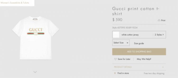 Trên trang web của hãng, mẫu áo thun trắng đơn giản phối ba sọc xanh thuộc BST Gucci Resort 2017 có mức giá 590$ - tầm 13 triệu 400 ngàn đồng, một mức giá không hề bình thường so với kiểu áo phông trắng.