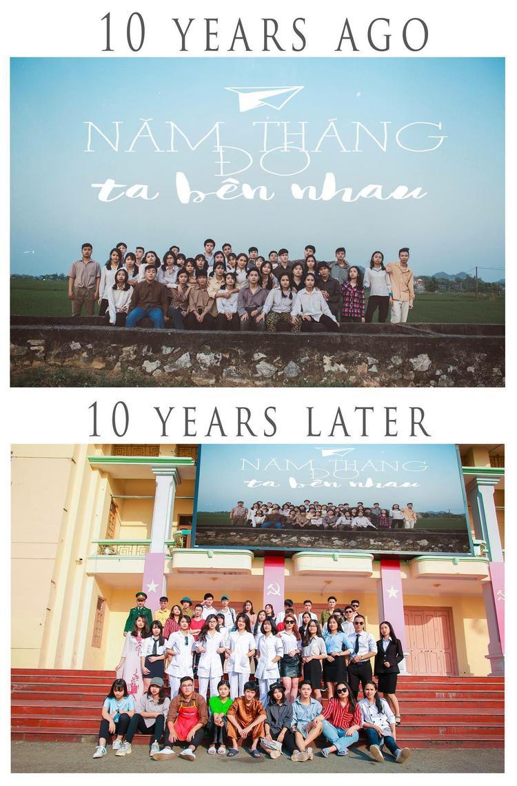 """40 thành viên lớp 12G - K35 Nguyễn Huệ đã nắm tay nhau """"xuyên không"""" ngược về 10 năm trước xem các anh chị thế hệ 8X, 9X trưởng thành ra sao. Sau đó, họ lại cùng nhau tiến về tương lai. Ở đó, người sẽ làm doanh nhân, bác sĩ hay đơn giản là bán báo, xe ôm…."""