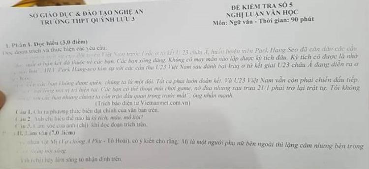 """Đề kiểm tra lớp 12 trường THPT Quỳnh Lưu 3, Nghệ An với yêu cầu chỉ ra phương thức biểu đoạn của đoạn:""""Sau chiến thắng của đội tuyển Việt Nam trước Iraq ở tứ kết giải U23 châu Á, HLV Park Hang Seo đã căn dặn các cầu thủ: """"Một suất ở bán kết đã thuộc về các bạn. Các bạn xứng đáng. Không may mắn nào lập được kỳ tích đâu. Kỳ tích có được là nhờ máu và mồ hôi""""…."""