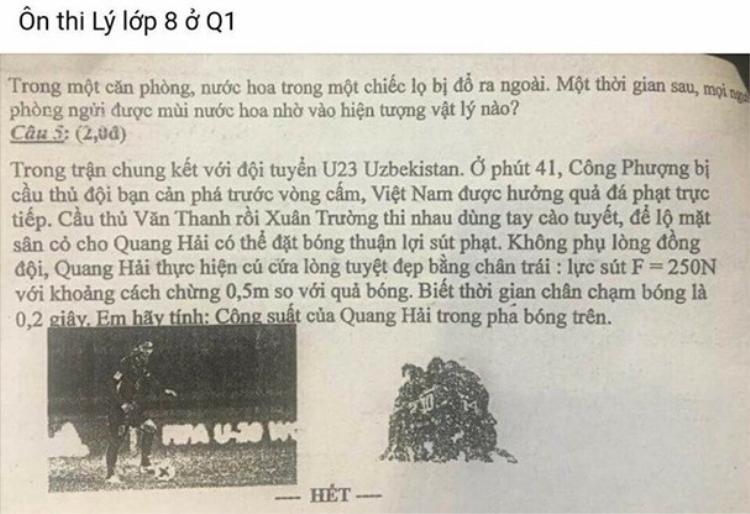 Hình ảnh cào tuyết trong trận chung kết giữa đội U.23 Việt Nam và U.23 Uzbekistan vào đề ôn thi Vật lý tại trường THCS ở TP.HCM.