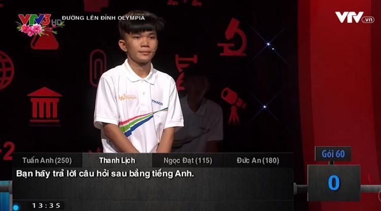 """Thanh Lịch là thí sinh đầu tiên trong Olympia năm nay ra về """"trắng tay""""."""