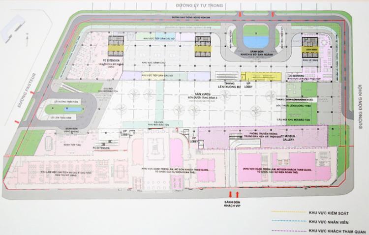 Trung tâm hành chính rộng hơn 18.000 m2, diện tích xây dựng hơn 14.000 m2, bốn phía là mặt tiền các đường Lê Thánh Tôn, Pasteur, Đồng Khởi và Lý Tự Trọng.