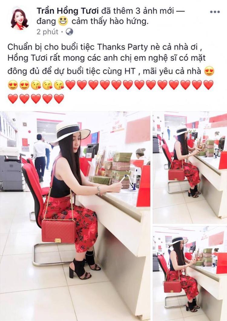 Hoa hậu Hồng tươi quyết định chi mạnh tay cho tiệc thanks party.