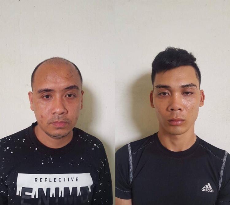 2 đối tượng Nguyễn Văn Thảo và Nguyễn Khánh Hưng tại cơ quan công an.