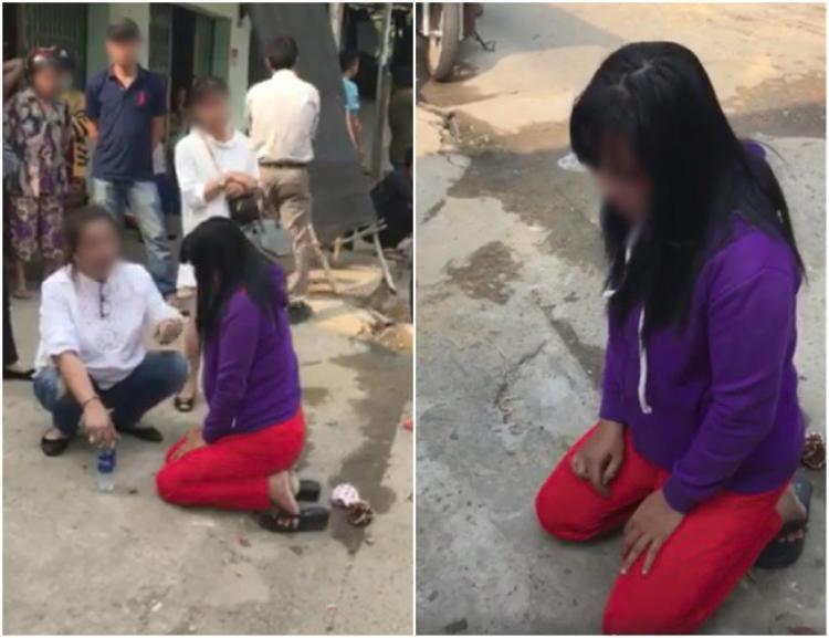 Cô bồ nhí bị đánh bầm mặt, quỳ gối xin lỗi sau khi cặp bồ còn lớn tiếng thách thức. Ảnh cắt từ clip.