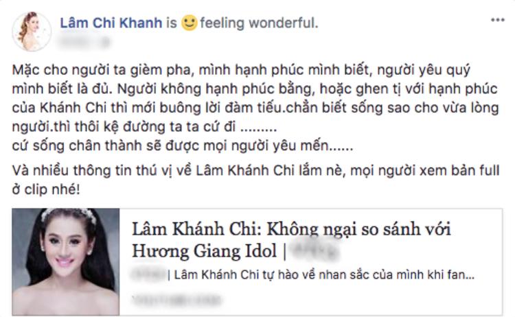 Nguyên văn bài đăng của Lâm Khánh Chi.