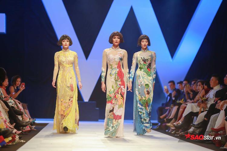 Ngoài ra, cả ba còn trình diễn những tà áo dài ôm sát được thêu những họa tiết kể về các câu chuyện cổ tích của Việt Nam như: Thánh Gióng, con Rồng cháu Tiên, Mai An Tiêm…