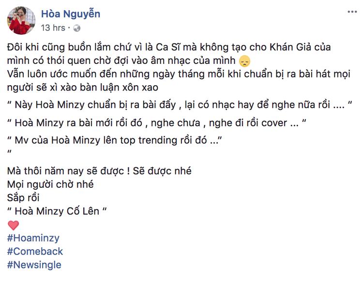 Đoạn chia sẻ của Hoà Minzy trên trang facebook.