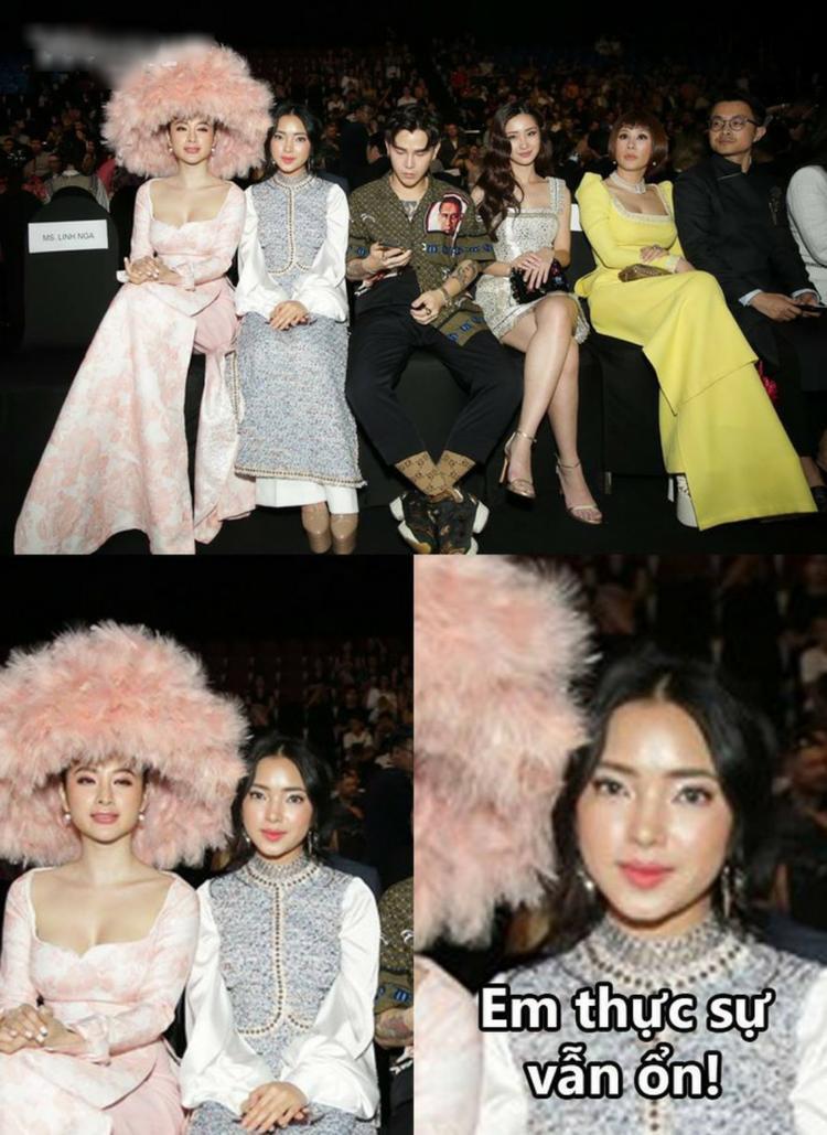"""Thật tiếc cho Châu Bùi, dù có ăn vận, trang điểm kỹ càng đến đâu thì có vẻ như nàng fashionista cũng đã bị món phụ kiện độc, lạ của Angela Phương Trinh """"lấn át""""."""