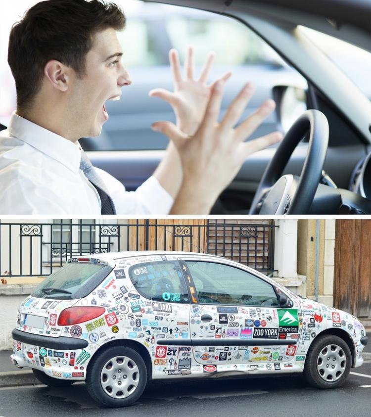 Những người nóng tính thường dán nhiều sticker trên xe ô tô. Ảnh: depositphotos