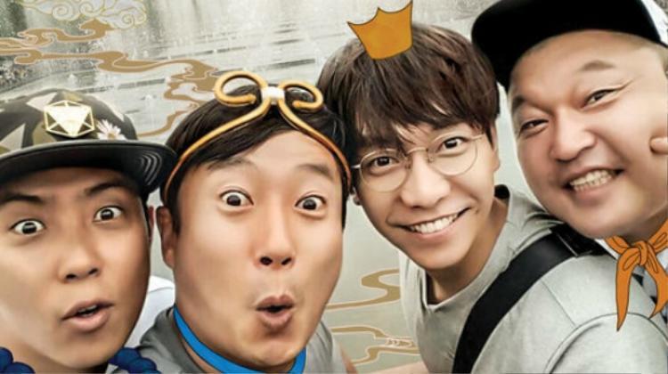 """4 thành viên Kang Ho Dong, Lee Soo Geun, Eun Ji Won và Lee Seung Gi trong """"Tân Tây Du Ký""""."""