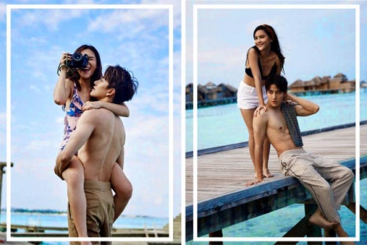 Cùng là chụp ảnh couple nhưng Aom Sushar chỉ có những hành động mùi mẫn này với Mike D.Angelo