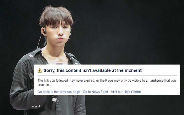 Thông báo nhận được khi vào đường dẫn fanpage có 10 triệu lượt like của Sơn Tùng.