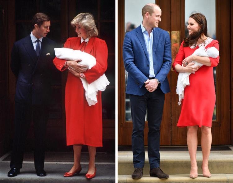 """Sự kiện công nương Kate Middleton hạ sinh bé trai thứ ba thu hút sự quan tâm của toàn thế giới. Vào hôm 24/4 vừa qua, khi lần đầu """"ra mắt"""" bé trai trước công chúng, Kate diện chiếc váy đỏ vô cùng nổi bật. Giới mộ điệu còn cho rằng bộ đầm đỏ của Kate có nhiều điểm tương đồng với trang phục Công nương Diana từng mặc khi chào đón Hoàng tử Harry ra đời (năm 1984). Dù đã qua đời, Công nương Diana vẫn được nhắc đến là biểu tượng thời trang của sự sang trọng và thanh lịch."""