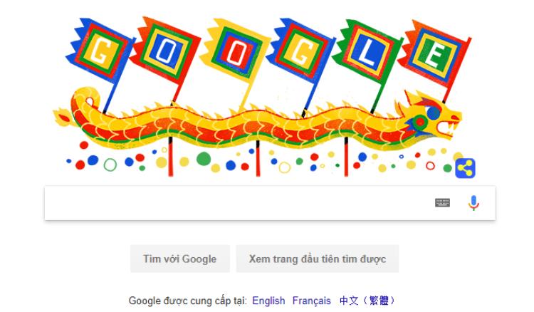 """Biểu tượng Google Doodle đậm chất Việt Nam xuất hiện trên trang chủ Google. Khi click vào biểu tượng này, người dùng được chuyển hướng đến trang tìm kiềm từ khóa """"Giỗ Tổ Hùng Vương""""."""