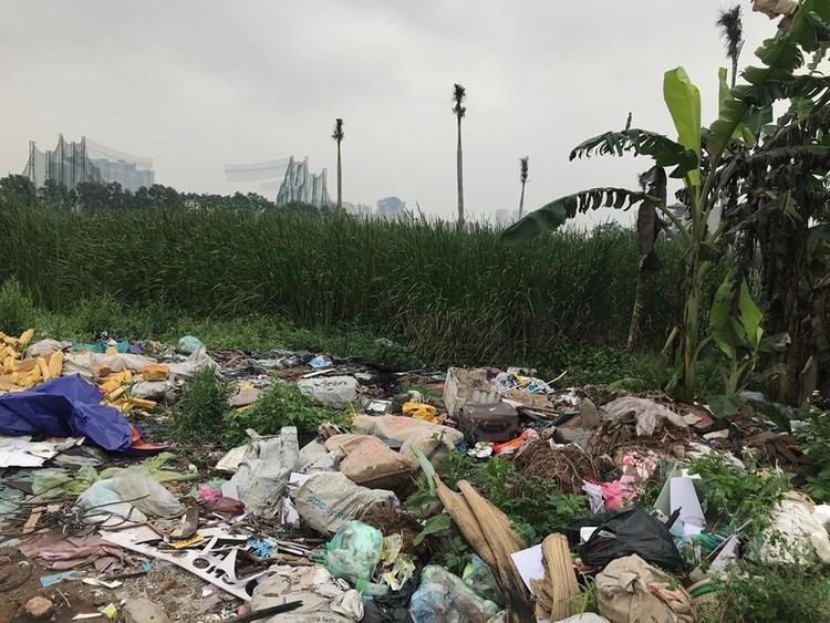 Vị trí bãi rác nơi phát hiện thi thể nam sinh xấu số.