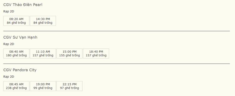 """Suất chiếu của """"100 ngày bên em"""" tại các rạp của CGV ngày 27/4 chỉ đếm trên đầu ngón tay"""