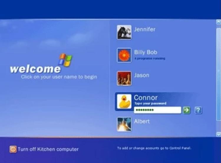 """Màn hình đăng nhập """"huyền thoại"""" mà bất kì ai từng sử dụng Windows XP cũng nhớ."""