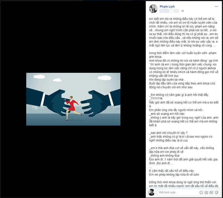 """Phạm Lịch tố Phạm Anh Khoa """"gạ tình"""" khi làm việc chung."""
