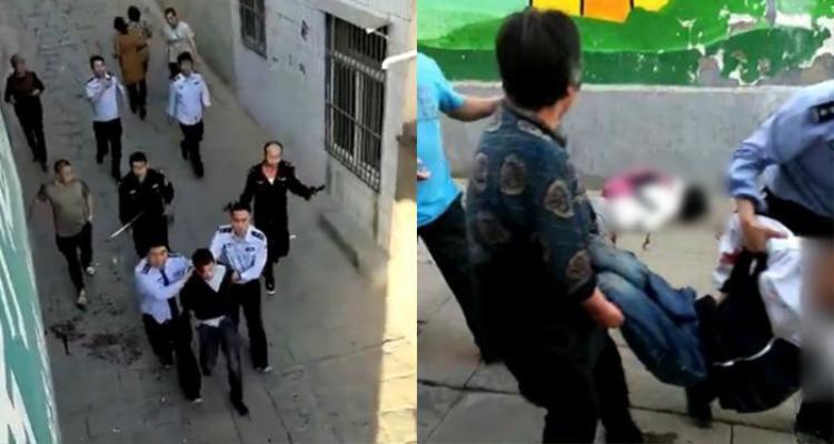 Cảnh sát tóm gọn ngi phạm và hiện trường vụ tấn công. Ảnh: Shanghaiist