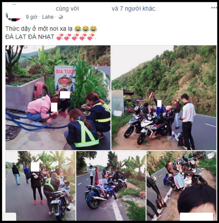 Bài đăng được cho rằng của thành viên nhóm phượt trong bức ảnh trên
