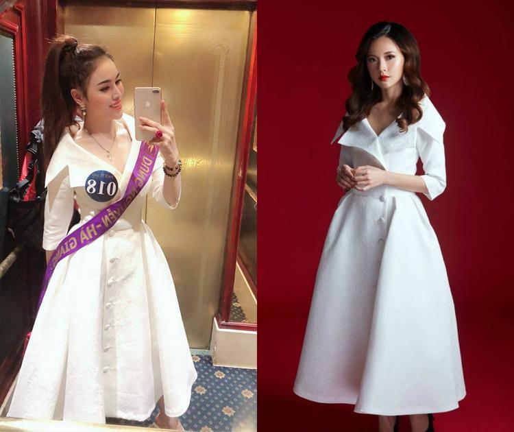 Trong khuôn khổ cuộc thi Người mẫu Thời trang Việt Nam và Miss Eco International, Thư Dung đã mượn lại thiết kế của Midu những hai lần. Thế nhưng cô bị chê kém sắc hơn đàn chị rất nhiều.